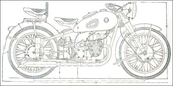 A Line drawing of the Ural Motorcycle